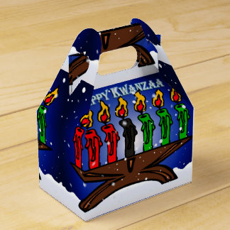 Kwanzaa Candle Kinara with Snow And Greeting Favour Box