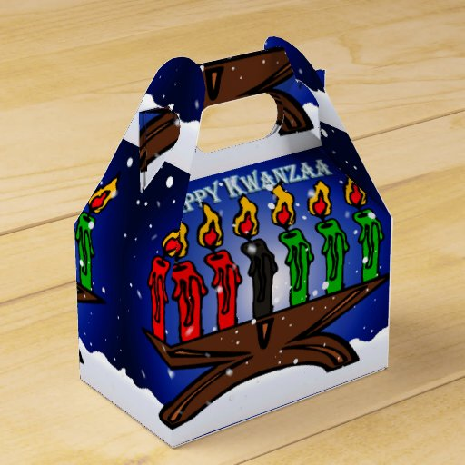 Kwanzaa Candle Kinara with Snow And Greeting Party Favor Box