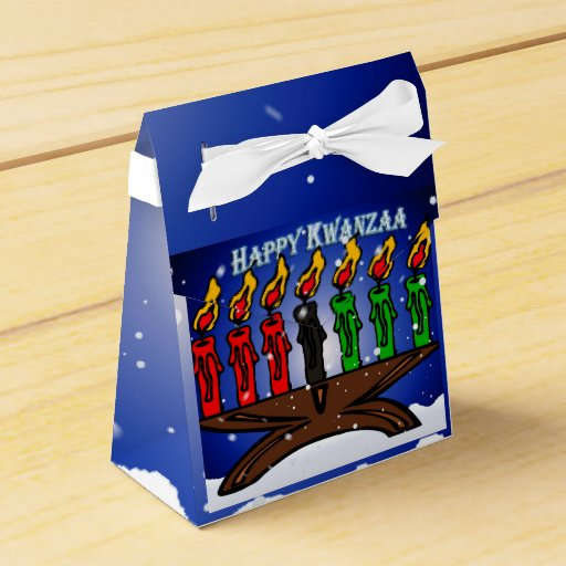 Kwanzaa Candle Kinara with Snow And Greeting Favor Boxes