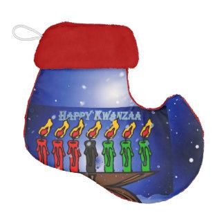 Kwanzaa Candle Kinara with Snow And Greeting Elf Christmas Stocking