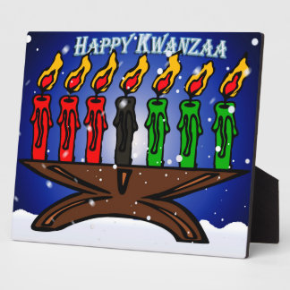 Kwanzaa Candle Kinara with Snow And Greeting Photo Plaques