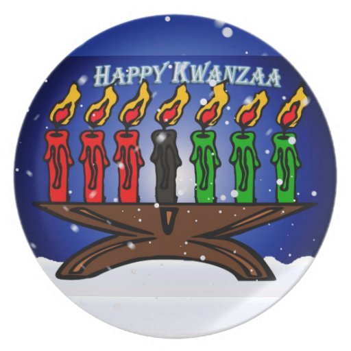 Kwanzaa Candle Kinara with Snow And Greeting Party Plates