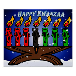 Kwanzaa Candle Kinara with Snow And Greeting Poster