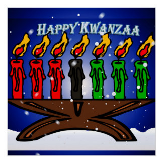 Kwanzaa Candle Kinara with Snow And Greeting Perfect Poster