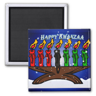 Kwanzaa Candle Kinara with Snow And Greeting Square Magnet