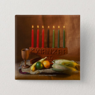 Kwanzaa Candles and Food 15 Cm Square Badge