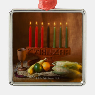 Kwanzaa Candles and Food Christmas Ornament