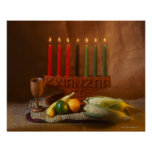 Kwanzaa candles and food posters