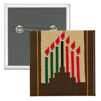 Kwanzaa Candles and Kinara Crochet Square Broach 15 Cm Square Badge