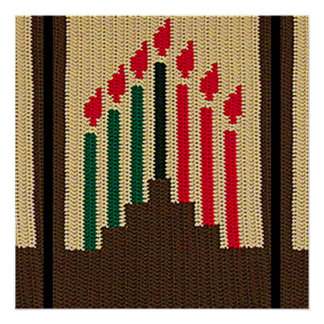Kwanzaa Candles Brown Red Black Green Crochet