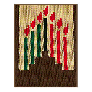 Kwanzaa Candles Natural Brown Kinara Crochet Print Postcard
