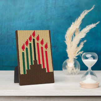 Kwanzaa Colors Candles Brown Crochet Free Standing Photo Plaque