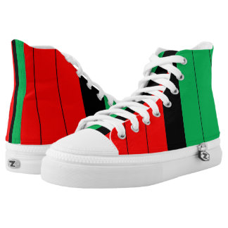 Kwanzaa Colors Red Black Green Stripes Pattern Printed Shoes
