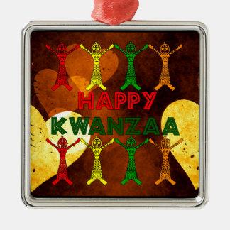 Kwanzaa Dancers Silver-Colored Square Decoration