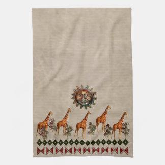 Kwanzaa Giraffes Tea Towel