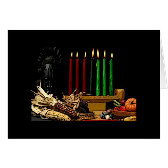 Kwanzaa Greeting Card Candles Mask