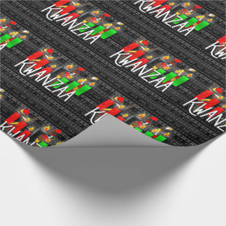 Kwanzaa Lit Kinara Candles with African Dancers Wrapping Paper