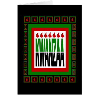 Kwanzaa Split With 7 Flames & Decorated Frame Greeting Card