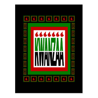 Kwanzaa Split With 7 Flames & Decorated Frame Postcard