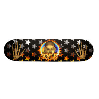 Kyle skull real fire and flames skateboard design