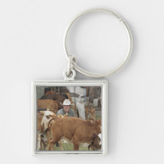 Kyle waiting with calf during round-up, Silver-Colored square key ring