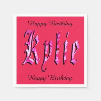 Kylie, Name, Logo, Pink Paper Birthday Napkins Paper Serviettes