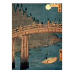 Kyoto bridge by moonlight postcard