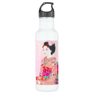 Kyoto Brocade, Four Leaves - Spring japanese lady 710 Ml Water Bottle