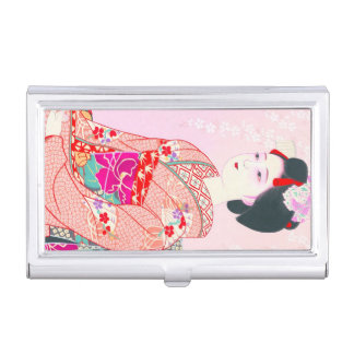 Kyoto Brocade, Four Leaves - Spring japanese lady Business Card Holder