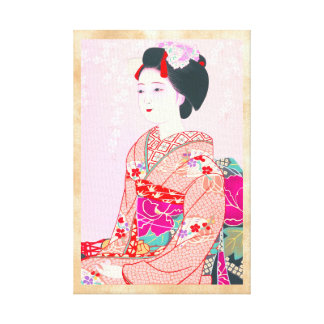 Kyoto Brocade, Four Leaves - Spring japanese lady Gallery Wrap Canvas