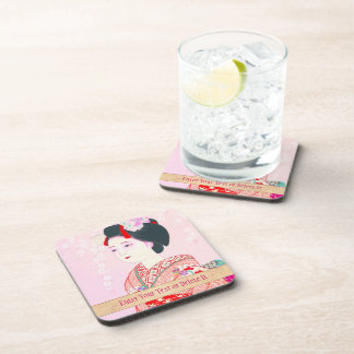 Kyoto Brocade, Four Leaves - Spring japanese lady Coasters