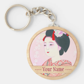 Kyoto Brocade, Four Leaves - Spring japanese lady Basic Round Button Key Ring