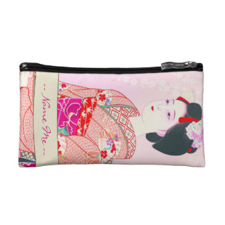 Kyoto Brocade, Four Leaves - Spring japanese lady Makeup Bags