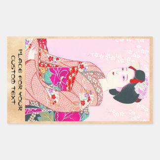Kyoto Brocade, Four Leaves - Spring japanese lady Rectangular Sticker