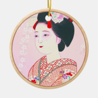 Kyoto Brocade, Four Leaves - Spring japanese lady Round Ceramic Decoration