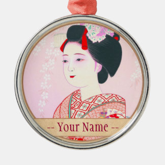 Kyoto Brocade, Four Leaves - Spring japanese lady Silver-Colored Round Decoration