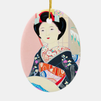 Kyoto Brocade, Four Leaves - Winter japanese lady Ceramic Oval Decoration