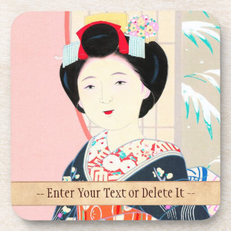 Kyoto Brocade, Four Leaves - Winter japanese lady Drink Coasters
