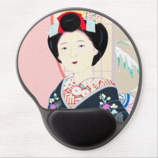 Kyoto Brocade, Four Leaves - Winter japanese lady Gel Mouse Pad