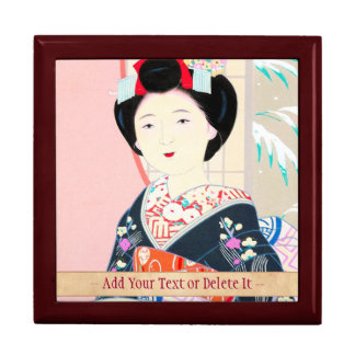 Kyoto Brocade, Four Leaves - Winter japanese lady Large Square Gift Box