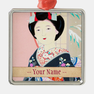 Kyoto Brocade, Four Leaves - Winter japanese lady Silver-Colored Square Decoration