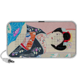 Kyoto Brocade Four Leaves - Winter japanese lady Mini Speakers
