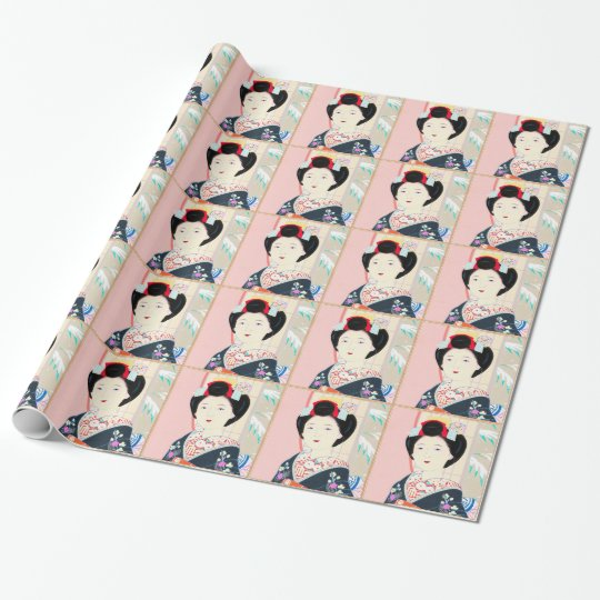 Kyoto Brocade, Four Leaves - Winter japanese lady Wrapping Paper