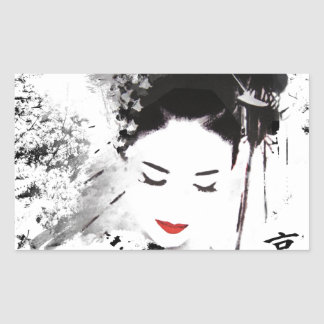 Kyoto Geisha Rectangular Sticker