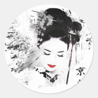 Kyoto Geisha Round Sticker