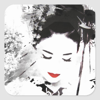 Kyoto Geisha Square Sticker