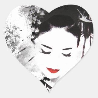 Kyoto Geisha Heart Sticker