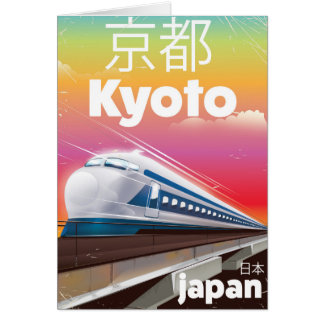 kyoto Japan bullet train vintage travel poster Card
