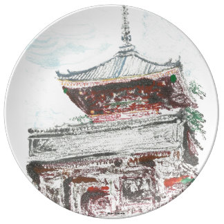 Kyoto Temple Japan Decorative Porcelain Plate