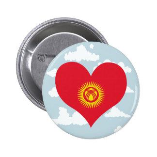 Kyrgyz Flag on a cloudy background 6 Cm Round Badge